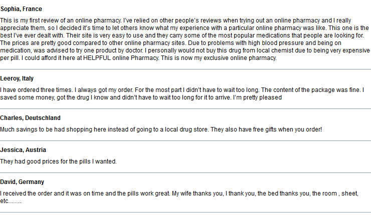 Online Pills Reviews by Customers