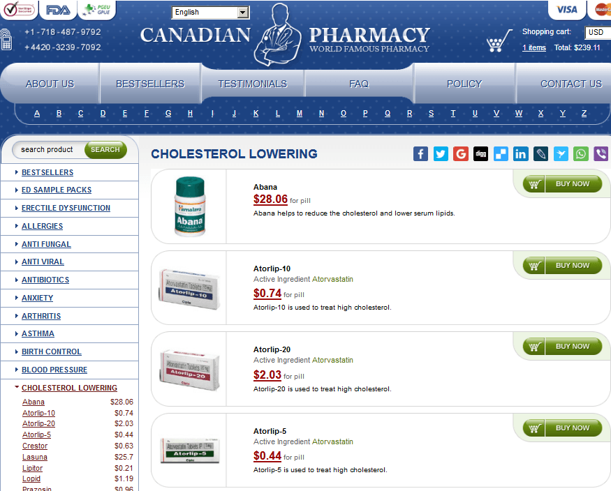 Online Pills Cholesterol Lowering Catalog
